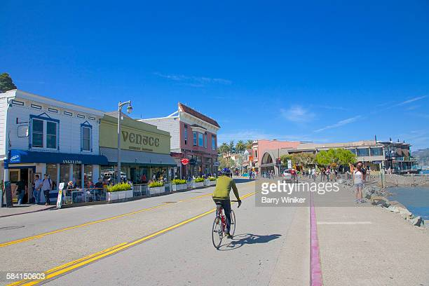 Bicyclist on road in Sausalito, California
