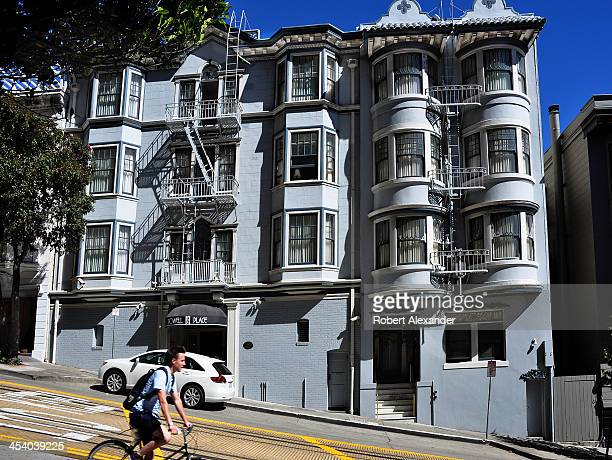 A bicyclist passes Powell Place a timeshare property in the Nob Hill section of San Francisco California