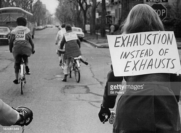 APR 22 1970 Bicyclist Weren't An UnCommon Sight in Denver Wednesday as Individuals marked Earth Day These hardy souls were spotted pedaling to work...