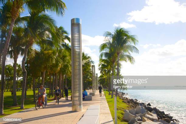 bicyclists and pedestrians in south pointe park, miami beach - miami beach south pointe park stock pictures, royalty-free photos & images