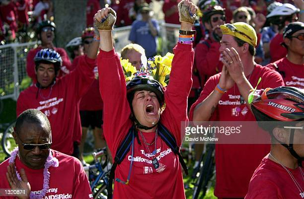 Bicyclists express joy and grief as they remember those who have died of AIDS after the completion of the California eighth annual AIDSRide benefit...