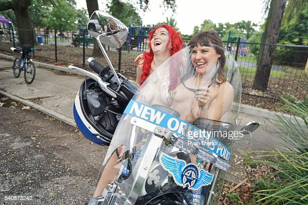 Image contains nudity Bicyclists gather for the World Naked Bike Ride to show how exposed bicyclists are to motor vehicles on June 11 2016 in New...