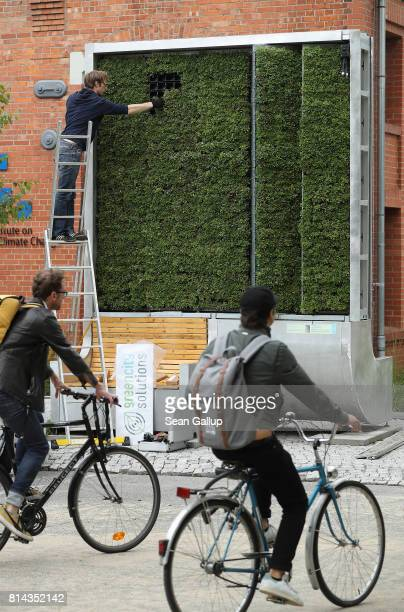 Bicyclists ride past an employee of German startup Green City Solutions who is putting the finishing touches on a CityTree on July 13 2017 in Berlin...