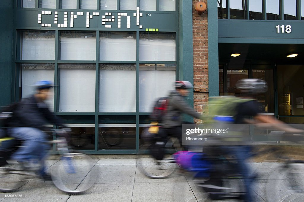 Bicyclists ride past Current TV LLC headquarters in San Francisco, California, U.S., on Friday, Jan. 4, 2013. Al Jazeera will pay about $500 million for Current TV, including the stake held by former vice president Al Gore according to two people with knowledge of the deal. Photographer: David Paul Morris/Bloomberg via Getty Images