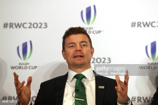 Bid Ambassador Brian O'Driscoll during the Rugby World Cup 2023 Bid Presentations event at Royal Garden Hotel on September 25 2017 in London England