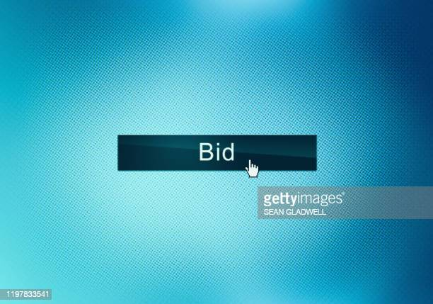 bid button on screen - bid stock pictures, royalty-free photos & images