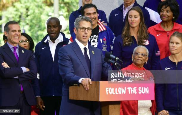 LA 2028 bid Chairman Casey Wasserman speaks joining former US Olympic gold medallist Carl Lewis and Los Angeles Mayor Eric Garcetti at a news...