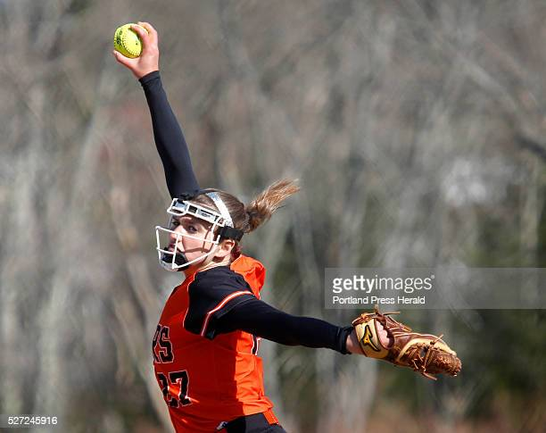 Biddeford pitcher Kirsten Lebreux delivers in the second inning at Biddeford's Rotary Park