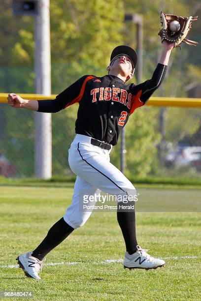Biddeford's Ashton Crowell catches a fly ball on Thursday at Windham