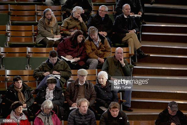 Bidders and visitors to Tattersalls Auctioneers watch as foals are paraded around the ring as they go under the hammer to be sold on November 28 2014...