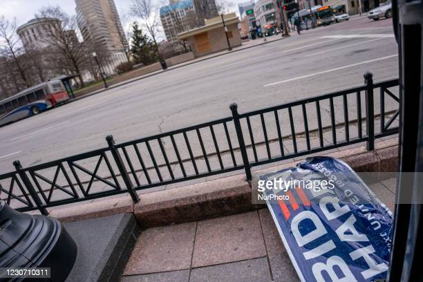Biden/Harris campaign sign sits on the sidewalk near the Ohio Statehouse after President Joe Biden was sworn into office in the wake of the...