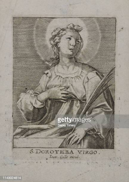 Bidprent for Wilhelmus van Zuylen with black and white image of the holy Dorothea on the front prayer print copper engraving engraving print material...