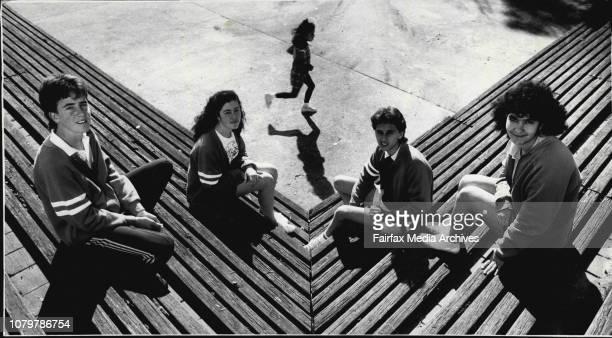 Bidwill High students from left Craig Read Antonella Veddovi Con Dalamangas and Laura Tchilinguirian August 30 1988