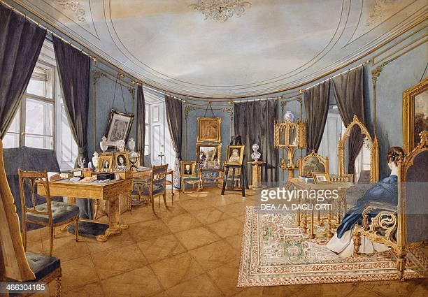 Biedermeier style blue circular hall ca 1841 watercolour Austria 19th century