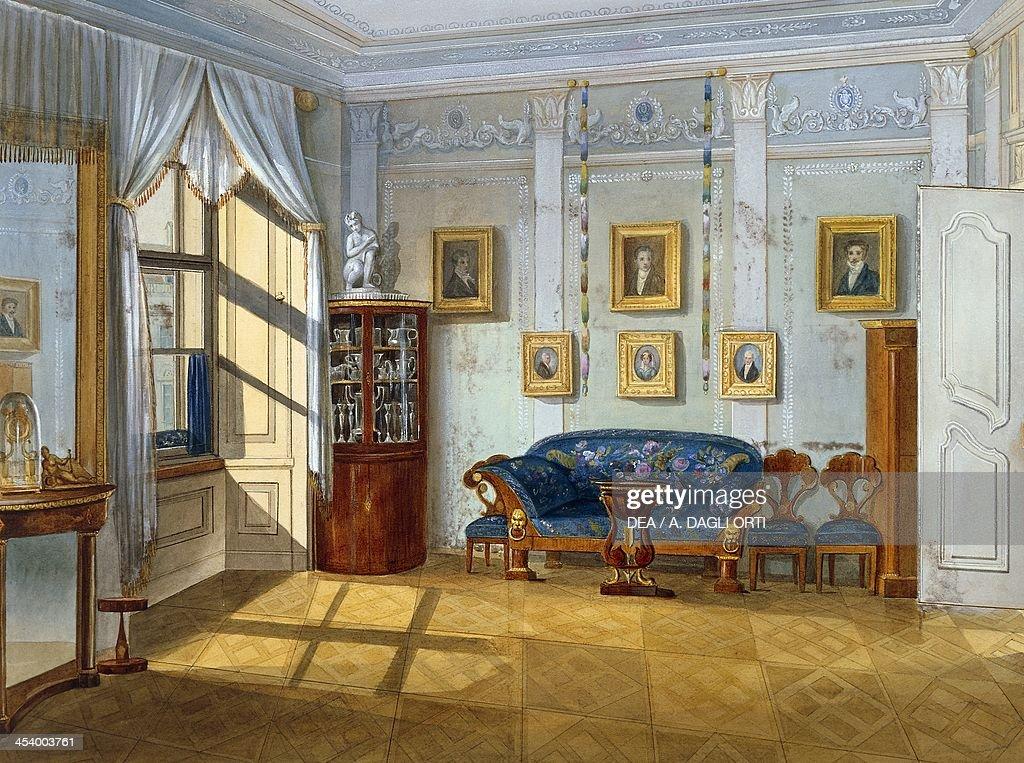 Biedermeier Style Parlour, Ca 1830, Watercolour. Austria