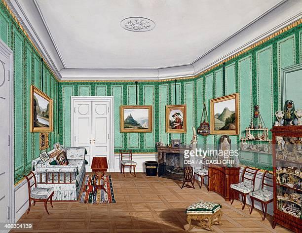 Biedermeier style room ca 1850 watercolour Austria 19th century