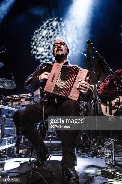Bieito Romero Luar Na Lubre's bagpiper and accordion player seen at the gig Luar na Lubre is a Spanish music band formed in 1986 they hosted their...