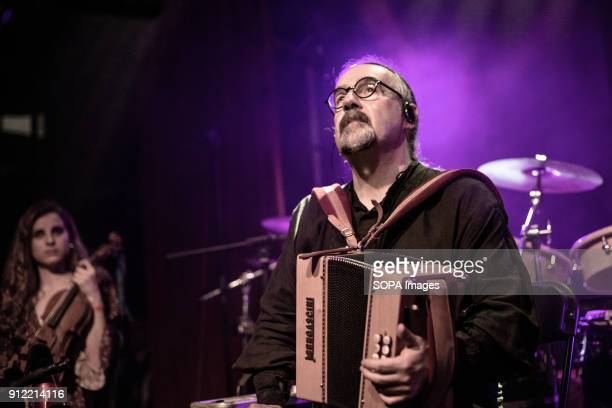 Bieito Romero Luar Na Lubre's bagpiper and accordion player seen during the gig Luar na Lubre is a Spanish music band formed in 1986 they hosted...