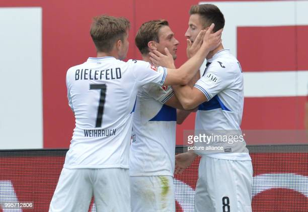 Bielefeld's Andraz Sporar celebrates his 01 with this teammates during the German 2nd Bundesliga match between 1st FCNuremberg and Arminia...