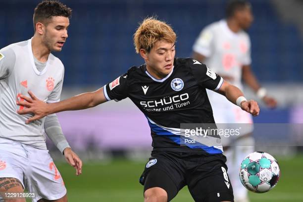 Bielefeld's Ritsu Doan in action during the Bundesliga match between DSC Arminia Bielefeld and FC Bayern Muenchen at Schueco Arena on October 17,...