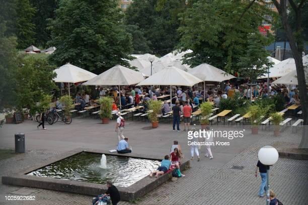 Biergarten im Schlossgarten, German Beer Garden, Stuttgart, Germany