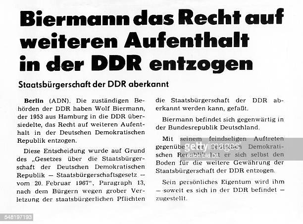 Biermann Wolf * Liedermacher Lyriker D ADNMeldung im 'Neuen Deutschland' ueber den Beschluss zur Ausbuergerung Biermanns Schlagzeile 'Biermann das...
