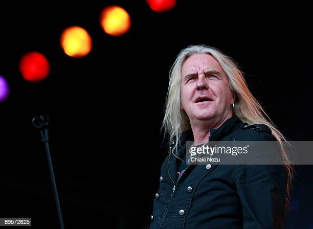 Biff Byford of Saxon performs on stage at Knebworth House on August 2, 2009 in Stevenage, England.
