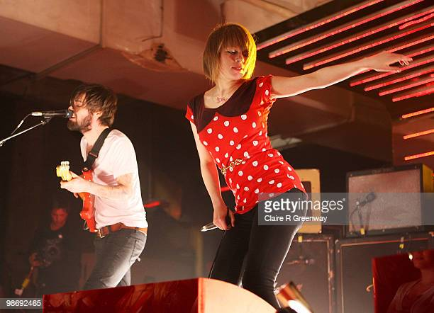 Biffy Clyro lead vocalist Simon Neil and Rolo Tomassi lead vocalist Eva Spence perform live on stage during a recording of the 'Evo Music Rooms' for...