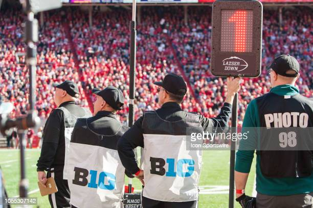 Big 10 Match officials watch the run of play from the sidelines during the game between the BethuneCookman Wildcats and the Nebraska Cornhuskers on...
