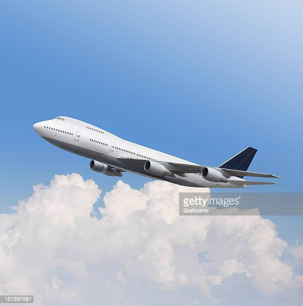 Big airplane Boeing 747 in the air