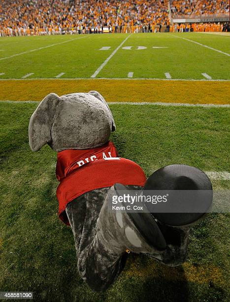 Big Al mascot of the Alabama Crimson Tide against the Tennessee Volunteers at Neyland Stadium on October 25 2014 in Knoxville Tennessee