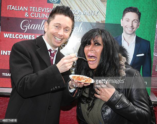 Big Ang of Mob Wives and health food expert Gianluca Mech attend Italiano Diet Launch Event at Times Square on March 10 2015 in New York City