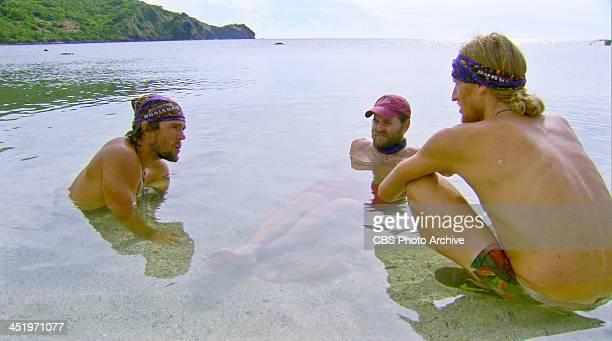 S BEACH WAIKIKI NOVEMBER 18 Big Bad Wolf Hayden Moss Caleb Bankston and Tyson Apolstol during the tenth episode of SURVIVOR BLOOD vs WATER Wednesday...