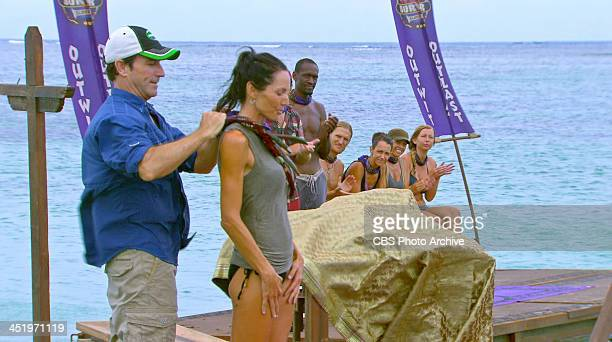 S BEACH WAIKIKI NOVEMBER 18 Big Bad Wolf Jeff Probst awards Monica Culpepper with the Immunity Necklace after winning the Individual Immunity...