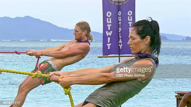 S BEACH WAIKIKI NOVEMBER 18 Big Bad Wolf Tyson Apolstol and Monica Culpepper compete in the Immunity Challenge during the tenth episode of SURVIVOR...