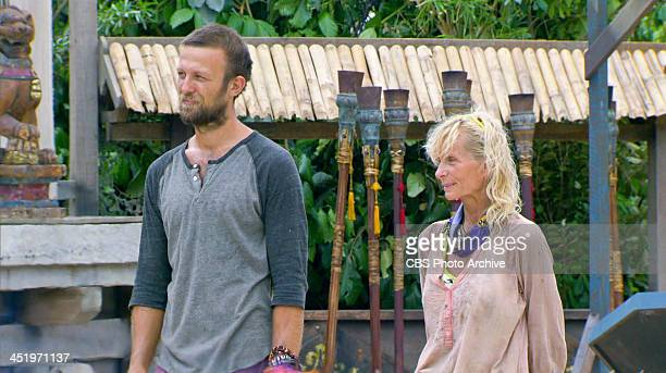 S BEACH WAIKIKI NOVEMBER 18 Big Bad Wolf Vytas Baskauskas and Tina Wesson during the tenth episode of SURVIVOR BLOOD vs WATER Wednesday Nov 20 on the...