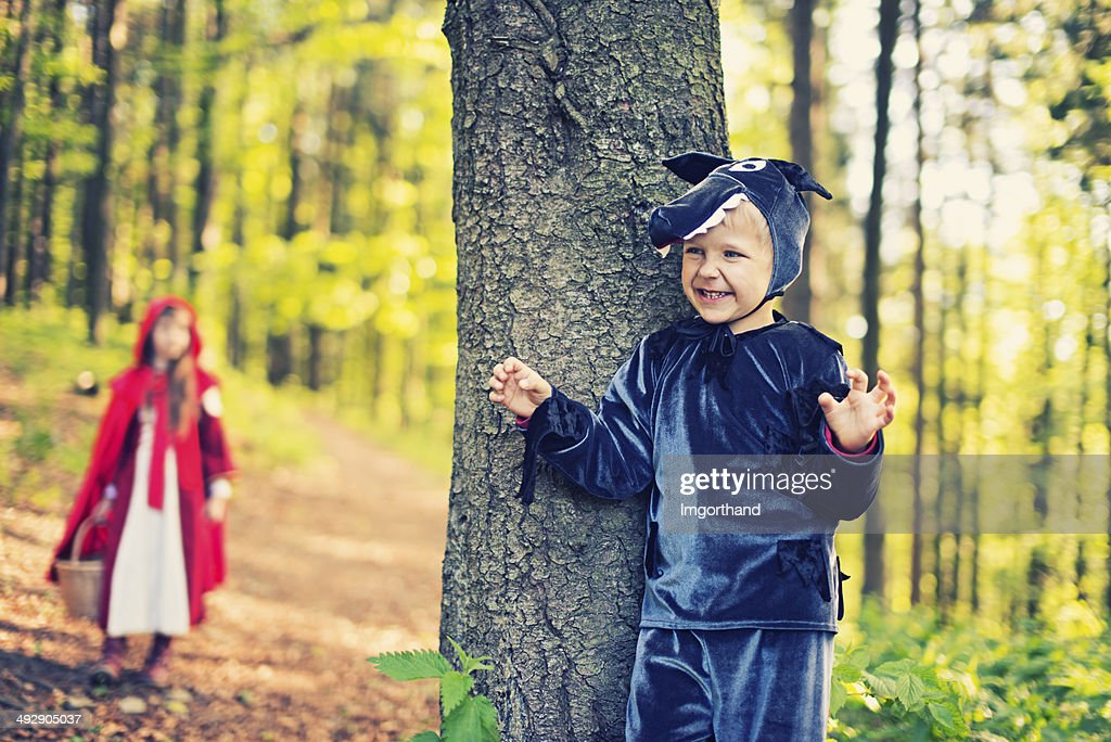 Big Bad Wolf  waiting for Little Red Riding Hood : Stock Photo