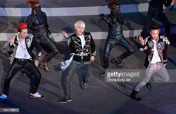Big Bang perform on a stage during the opening ceremony of the 2012 Yeosu Expo on May 11 2012 in Yeosu South Korea More than 105 countries 10...