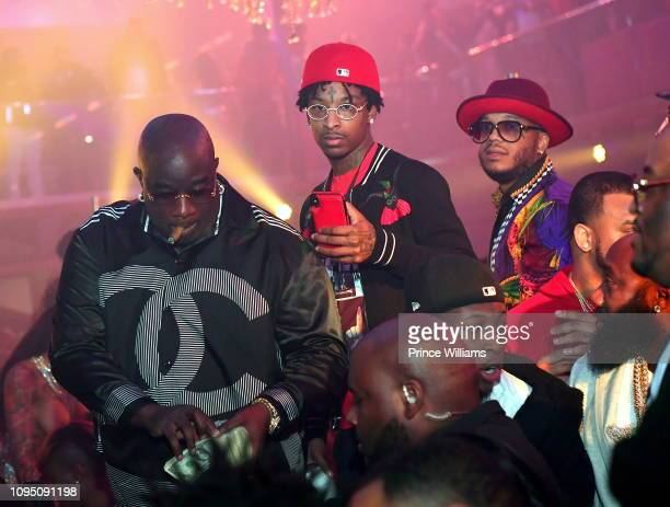Big Bank Black and 21 Savage attend the 2nd annual No Cap Tuesday at Gold Room on January 16 2019 in Atlanta Georgia
