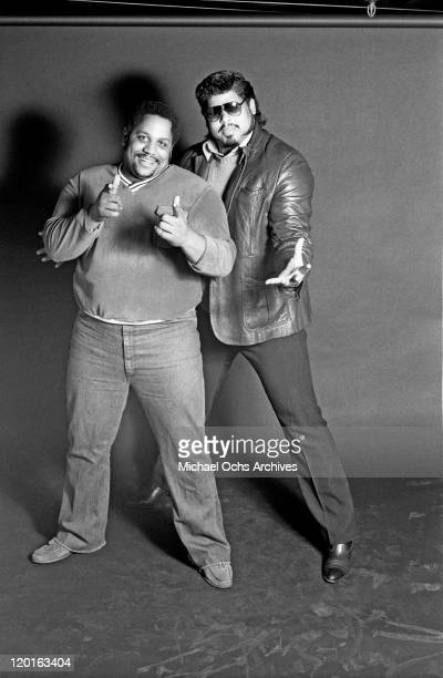 Big Bank Hank and Wonder Mike of the pioneering rap group the Sugar Hill Gang poses for a portrait at Sugar Hill Records in January 1984 in Englewood...