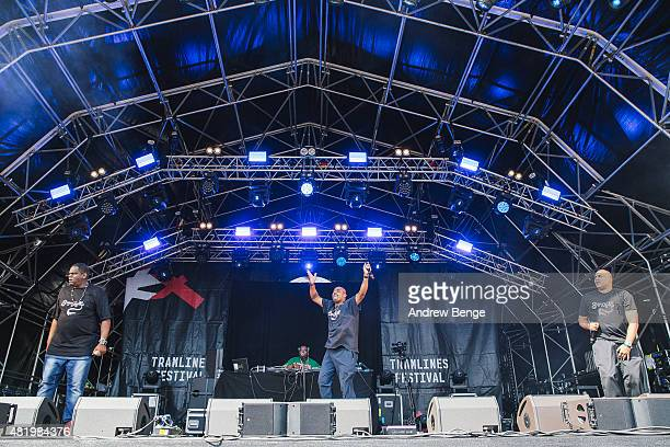 Big Bank Hank Master Gee and Wonder Mike perform on the Main Stage at Tramlines Festival on July 25 2015 in Sheffield United Kingdom