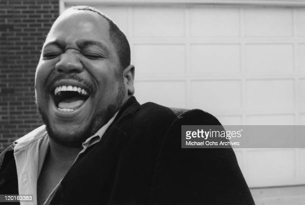 Big Bank Hank of the pioneering rap group the Sugar Hill Gang poses for a portrait at Sugar hill Records on November 7 1983 in Englewood New jersey