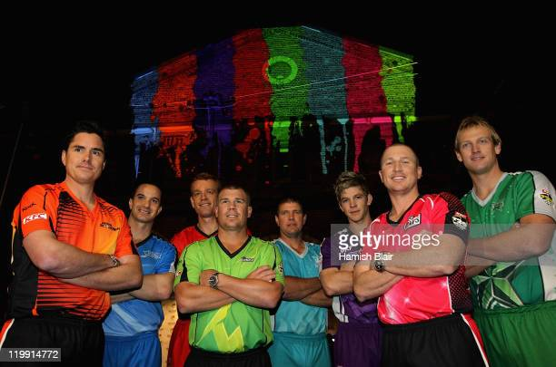 Big Bash Captains Marcus North of the Perth Scorchers Michael Klinger of the Adelaide Strikers Andrew MacDonald of the Melbourne Renegades David...