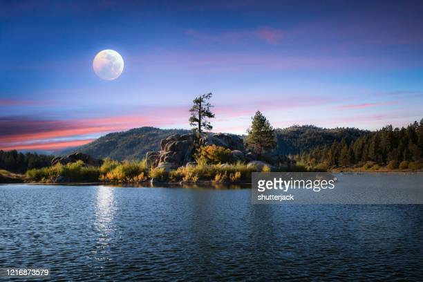 big bear lake in the moonlight, california, usa - big bear lake stock pictures, royalty-free photos & images