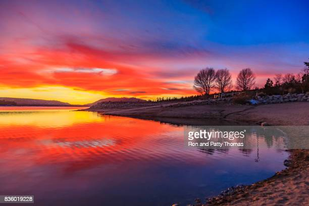 Big Bear Lake romantic sunset with reflections and cloudscape, CA