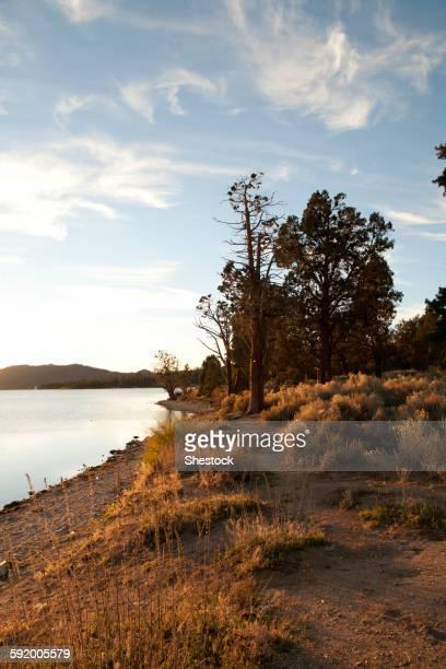 Big Bear Lake under blue sky, Big Bear, California, United States