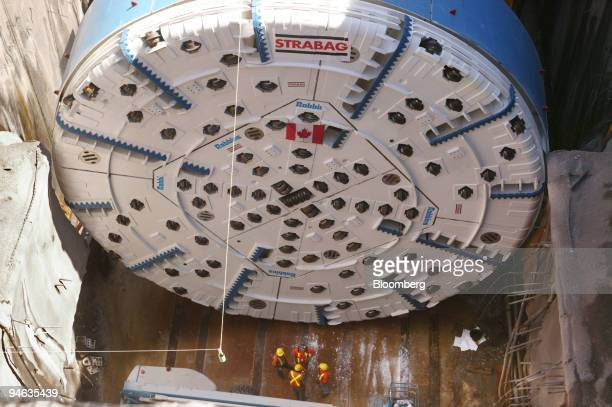 """""""Big Becky"""", a tunnel boring machine that is 14.4 meters in diameter, is pictured Tuesday, August 8 in Niagra Falls, Ontario, Canada. The tunnel..."""