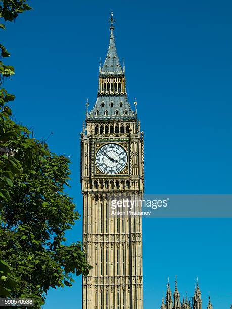 Big Ben also known as Elizabeth Tower against blue sky on sunny day without clouds.