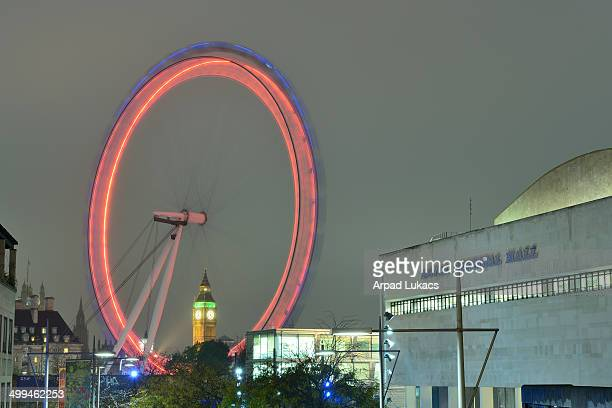 CONTENT] Big Ben and a red London Eye captured with Royal Festival Hall from Waterloo Bridge