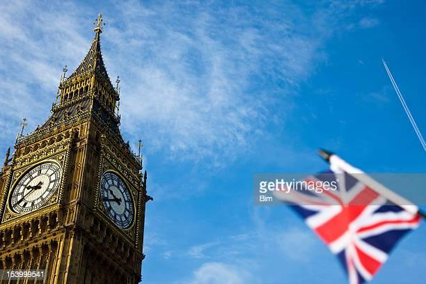 Big Ben and flag of the UK, London, England